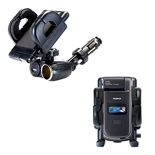 (Unique Auto Cigarette Lighter and USB Charger Mounting System Includes Adjustable Holder for the Nokia N90 N93 N95)
