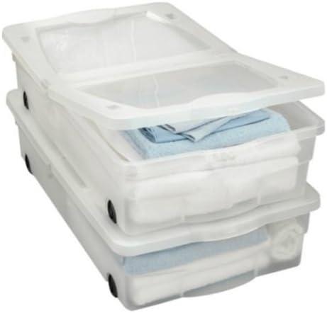 Juego de 2 cajas de almacenamiento para debajo de la cama con ruedas, capacidad de 50 litros: Amazon.es: Hogar