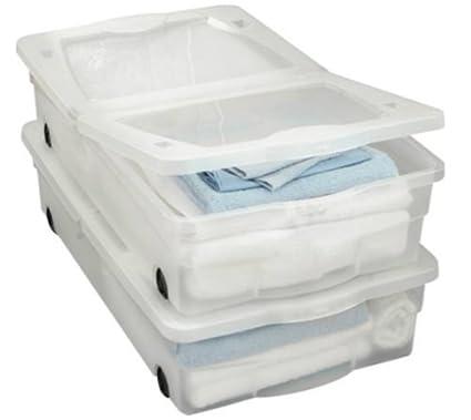 Juego de 2 cajas de almacenamiento para debajo de la cama con ruedas, capacidad de