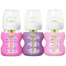Dr. Brown's Options 3 Piece Wide Neck Glass Bottle in Silicone Sleeve, Pink/Purple, 5 Ounce