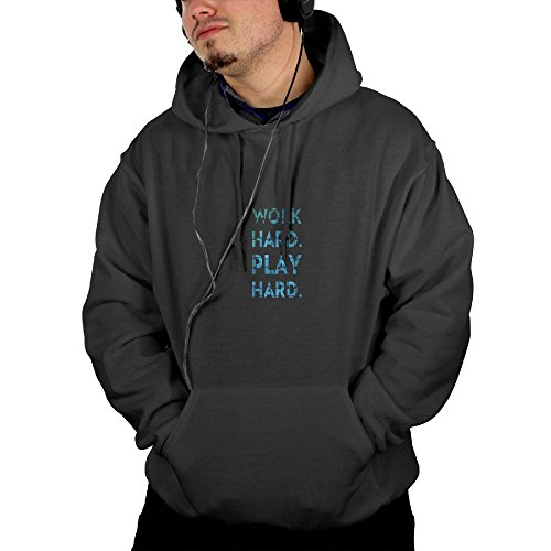 Work Hard Play Hard Adult Hooded Sweatshirt Mens Hip Hop Basic Pullover Hoodie Jacket