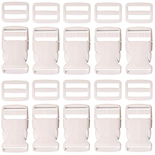 (Plastic Buckle 1 Inch | Single Adjust Side Quick Release Replacement Clips with Tri-Glide Slides for Dog Collars, Webbing Strap, and Backpack Repair | White, 10 Sets)