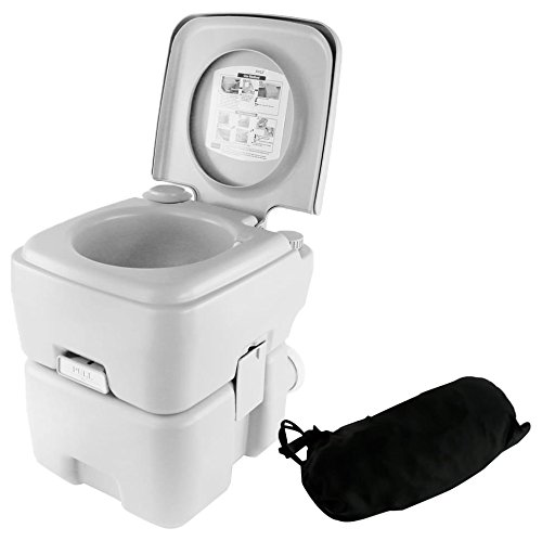 SereneLife Toilet Porta Potty Seat - Portable with Bellows Pump Flush, Cover and 5.3 Gallons of Water Tank Capacity for Travel, Camping, Hiking & Other Outdoor or Indoor Activities - SLCATL120 by SereneLife