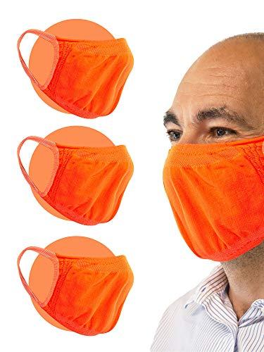 Relaxsan - Set 3 [Arancio Fluo] Fasce filtranti Viso Bocca Naso Lavabili riutilizzabili assorbenti Tessuto… 2 spesavip