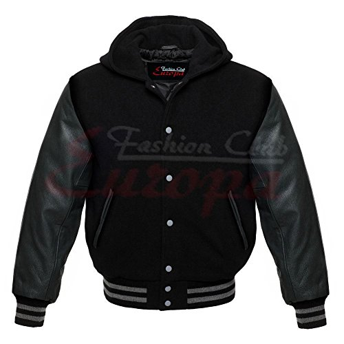 Fashion Club Men's Varsity Real Leather Sleeves/Wool Letterman Jacket W/Hood All Black New (L Regular)
