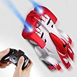zero gravity remote control car - SGILE Remote Control Car Toy, Rechargeable RC Wall Climber Car for Birthday Present with Mini Control Dual Mode 360° Rotating Stunt Car LED Head Gravity Defying, Red