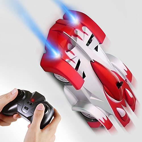 SGILE Remote Control Car Toy, Rechargeable RC Wall Climber Car for Birthday Present with Mini Control Dual Mode 360 Rotating Stunt Car LED Head Gravity Defying, Red