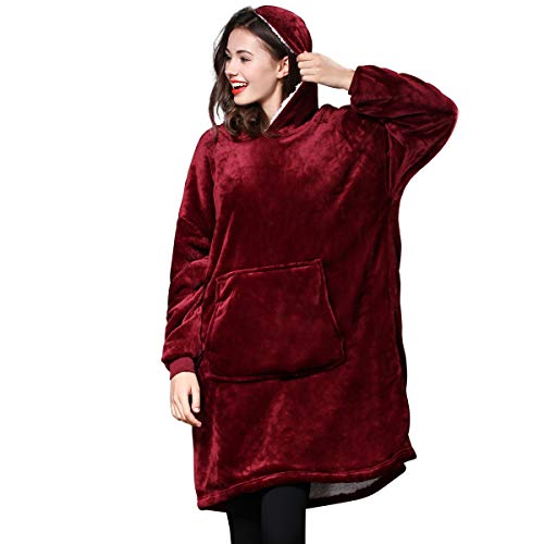 ACCLOVE Lazy Huggle Hoodie Wearable Blanket Ultra Plush Blankets Hoodie Head TV Blanket- One Size Fit Adult Men Women for Winter Home As Seen on TV(Burgundy) (Flannel Hoodie Reversible)