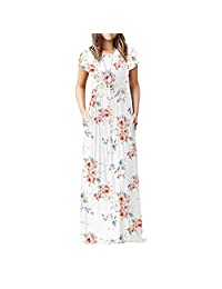 Women's Short Sleeve Loose Plain Maxi Dresses Casual Long Dresses with Pockets Empire Round Neck Ruched Dresses