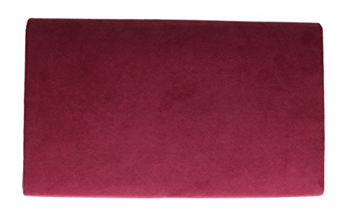 Faux Bag amp;g Frame H Metallic Burgundy White Envelope Clutch Ladies Plain Suede Design fqEfxdOX