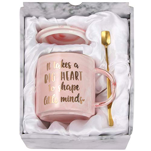 TOTWAY Teacher Appreciation Gift - It Takes A Big Heart to Shape Little Minds - Gift for for Preschool, Elementary, High School Teacher- Pink Marble Ceramic Coffee Mug 11oz