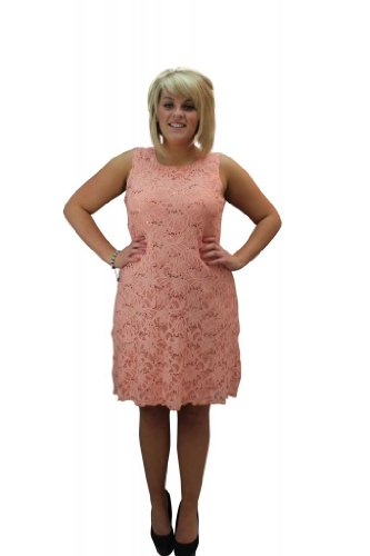 Orange Flapper Dress (Girltalkfashions Women Lace Sequin Flapper Dress Plus Size 24/26 Peach)