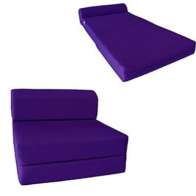 "D&D Futon Furniture Purple Sleeper Chair Folding Foam Bed Sized 6"" Thick X 32"" Wide X 70"" Long, Studio Guest Foldable Chair Beds, Foam Sofa, Couch, High Density Foam 1.8 Pounds."