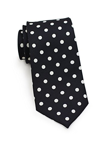 Bows-N-Ties Men's Necktie Bold Polka Dot Microfiber Satin Tie 3.1 Inches (Black and White) -