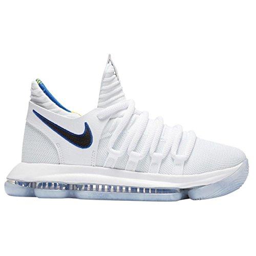 Nike Zoom KD10 LMTD NBA Grade School Basketball Shoes (4.5 M US Big Kid, White/Game Royal/University Gold) (Basketball Shoes Kd Boys)
