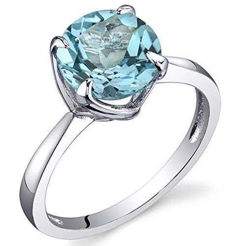 Sublime Solitaire 2.25 Carats Swiss Blue Topaz Ring in Sterling Silver Rhodium Nickel Finish Size 7