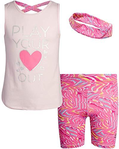RBX Girls' Active Bike Shorts Set – Short Sleeve T-Shirt and Yoga Gym Shorts