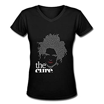 e0c2747a4 Black V Neck T Shirt for Women Rock Band The Cure Robert Smith Logo   Amazon.co.uk  Clothing