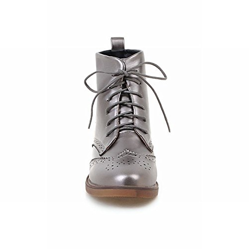 Charm Foot Womens Vintage Lace up High Top Low Heel Combat Boots Gun Color upcwu