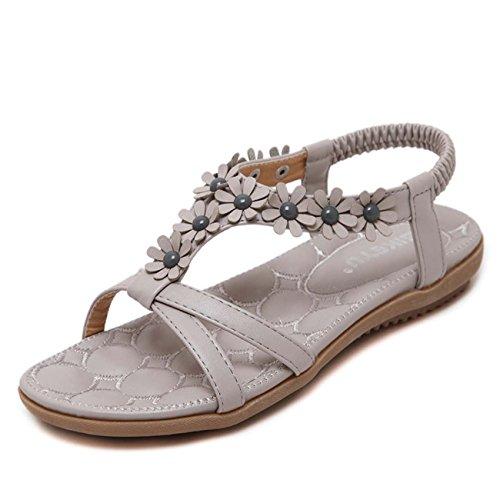 GONGFF Folk-Custom Sandals Rhinestone Flip Flops Women's Shoes Beach Shoes Flowers Flat Clip Toe Large Size ()