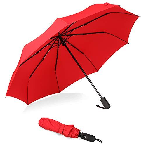 Bagail Compact Auto Open/Close Travel Umbrella Windproof Umbrella with Teflon Coating(Red)