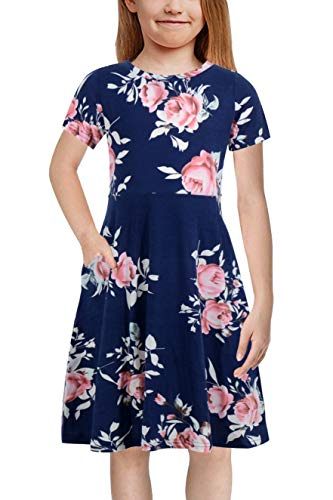 Gorlya Girl's Short Sleeve Floral Print Casual Fit and Flare Party Dress with Pockets 4-12 Years (GA1002, 11-12Y, Navy Print) ()