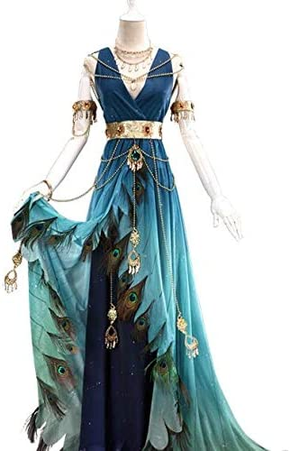 UWOWO Anime Feather Garment Song Series Blue Peacock Women Cosplay ...
