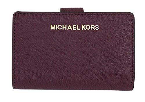 MICHAEL Michael Kors Jet Set Travel Bifold Zip Coin Wallet (Plum) by Michael Kors