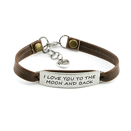 Yiyang Birthday Day Gift for Girls Leather Bracelet Inspirational Engraved I Love You to the Moon and Back by Yiyang
