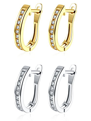 14mm Small Huggie Hoop Earrings,14K Yellow Gold/White Gold Plated with Small Inlay CZ Cubic Zirconia Hypoallergenic Hoops For Women Teen Girls Sensitive Ears (2 Pairs (Gold&Silver))