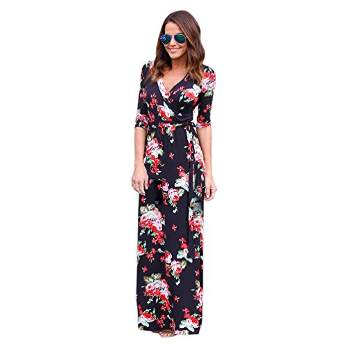 Women Vintage Floral Print V Neck 3/4 Sleeve Long Maxi Fitted Dress with Belt (M, 001)