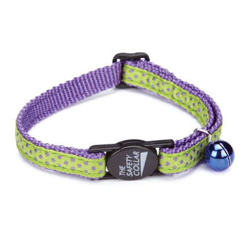 Savvy Tabby Nylon with Ribbon Cat Collar, Purple Dot, My Pet Supplies