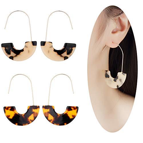 MVCOLEDY Acrylic Earrings Bohemian Style Drop Dangle Earrings Resin Earrings for Women Fashion Jewelry (Leopard-Tortoiseshell)