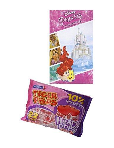 Disney Princess Ariel 32 Valentines Day Cards and Tiger Pops Heart Pops Cherry Flavor Bundle (Princess Valentines Day Cards)