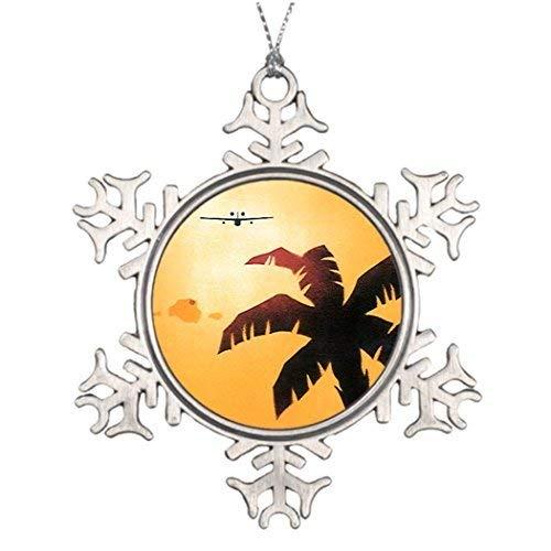 Christmas Christmas Snowflake Ornaments Vintage Travel Airplane Over Hawaiian Islands Christmas Trees Decorating