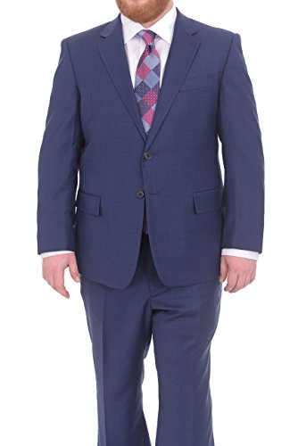 Lazetti Couture Portly Fit Blue Textured Two Button Super 130's Wool Suit 130's Wool Suit