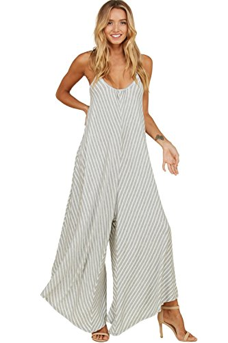 Annabelle Women's Stripe Flare Wide Leg Sleeveless Tanktop Strap Low Back Scoop Neck Jumpsuit with Side Pockets H Grey-Ivory Small J8050 (Cardigan Knit & Wide Pants Leg)