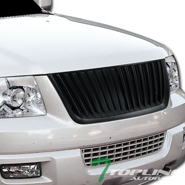 Topline Autopart Black Vertical Stripes Sport Style Front Hood Bumper Grill Grille Cover Conversion 03-06 Ford Expedition XLS XLT Sport Eddie Bauer Limited (Ford Expedition Bumper Cover)