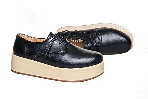 Wenhong Fashion Mujeres Comfort Cordones Surtidos Colores Casual Zapatos De Plataforma Al Aire Libre Negro