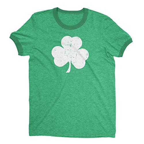 Retro Style Shamrock T-shirt Ringer Distressed Vintage Green Irish St -