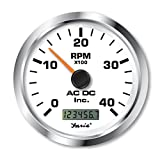 Non-Programmable Tachometer with Digital Hourmeter 4000 Rpm Marine Gauge, White