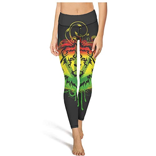 MIENTITE Cool high Waisted Leggings for Women Sports Yoga Pants Lion Weed Leaf Activewear Legging
