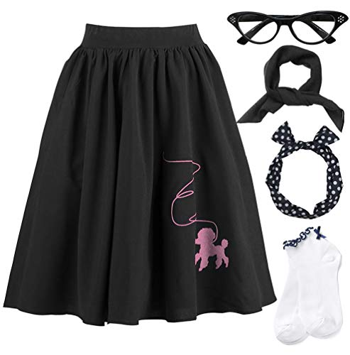 50s Women Adult Poodle Skirt Scarf Sock Costume Set]()