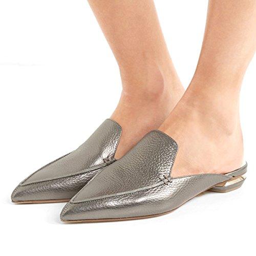 Fsj Femmes Mode Faux Daim Mules Sandales Pointu Orteil Décontracté Slip Sur Chaussures Talons Bas Taille 4-15 Us Gris Mat