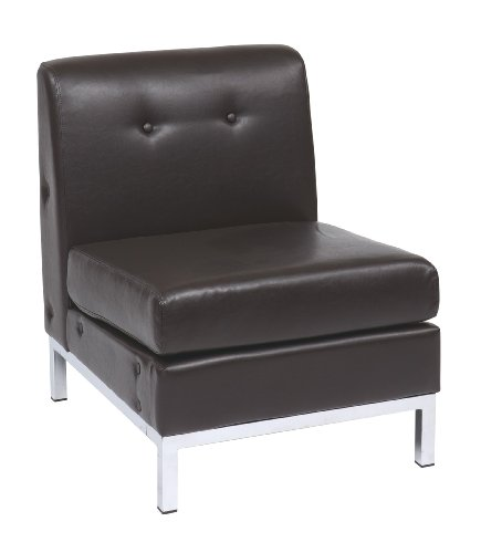 Ave Six Wall Street Faux Leather Armless Chair with Chrome Finish Base, Espresso - Faux Leather Wall Street