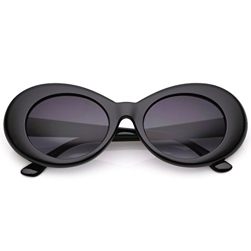 sunglassLA - Retro Oval Sunglasses With Tapered Arms Neutral Colored Gradient Lens 50mm ()