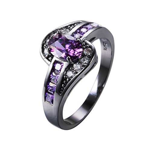 Junxin New Three 10KT Black Gold Wave Ring, Womans Wedding and engagement purple Cz Rings. size 8(purple Cz)