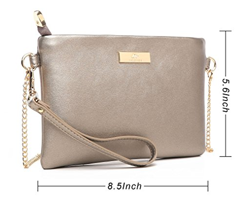 Soft Aitbags Crossbody Purse Phone Wristlet Clutch Bag PU Leather Strap with Chain Bronze Cell TdpdgZHqrc
