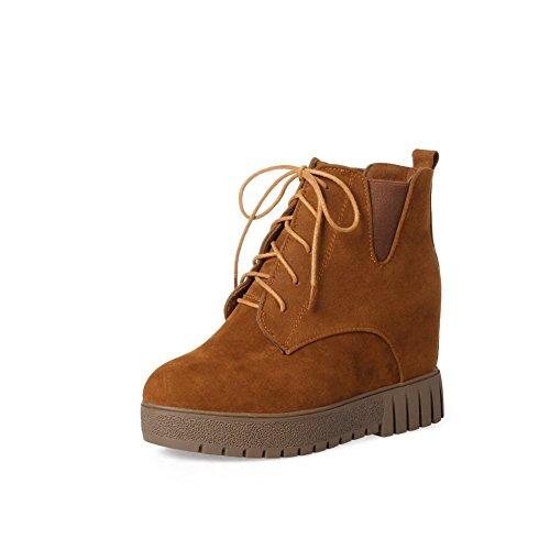 Balamasa Mujeres Retro Platform Slip-resistant Suede Botas Abl10148 Amarillo