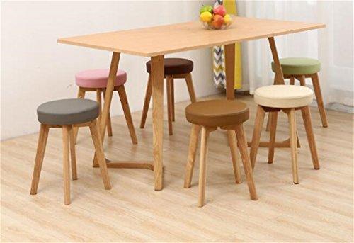 Amazon.de: wooden stool massivholz tisch und hocker leder kunst